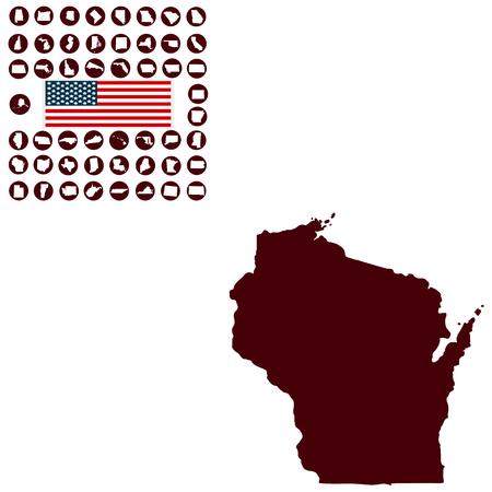 白い背景の米国ウィスコンシン州の地図