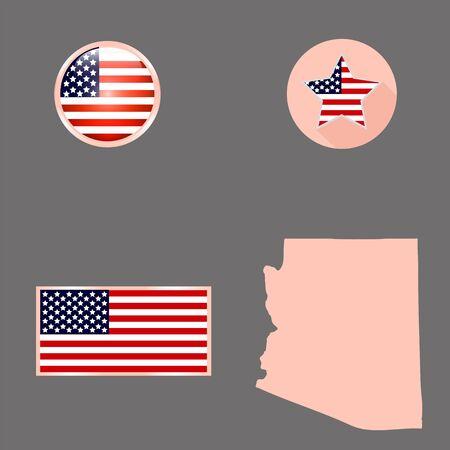 灰色の背景にアリゾナ州の米国の州の地図。