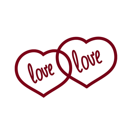 two hearts and an inscription on a white background