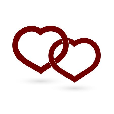 Symbole zwei Herzen rot auf weißem Hintergrund Vektorgrafik