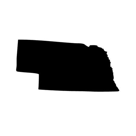 Kaart van de Amerikaanse staat Nebraska op een witte achtergrond