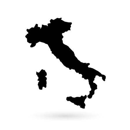 Italy. Map. Black on white background. Vector illustration