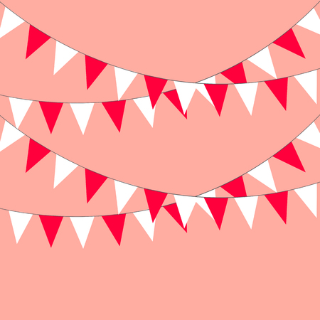 Celebratory background of triangular flags. Vector illustration