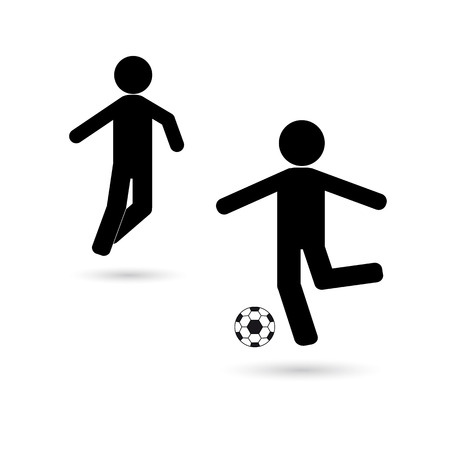 Icon of football players with a black ball on a white background