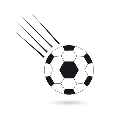 A flying soccer ball. Icon on white background. Illustration