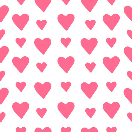 Seamless background from pink hearts. Vector illustration