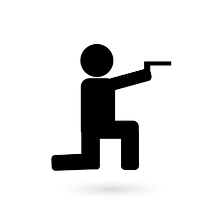 Sports icon is a sharp shooter. Vector icon