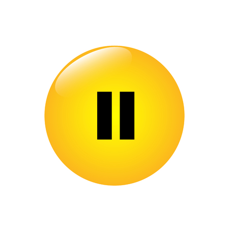 A round jaunty button with a pause mark vector illustration.