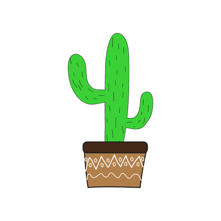 Cute cactus in a flowerpot on a white background