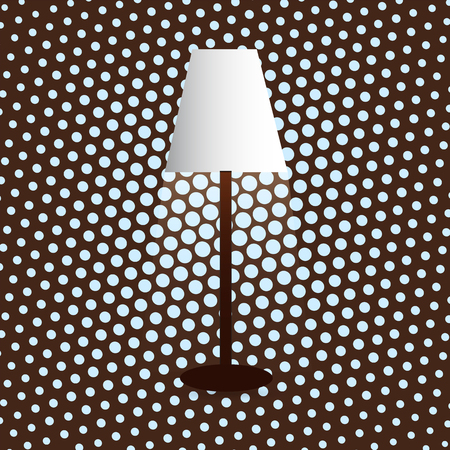 Floor lamp, lampshade, diffused light, dot background Ilustração