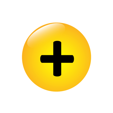 Plus icon on the yellow round button Stock Illustratie