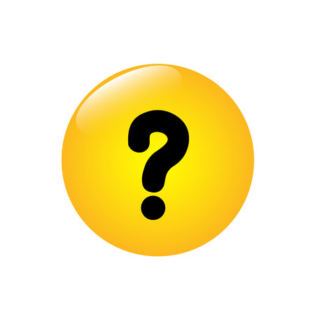 Question mark on the yellow button. Vector illustration.