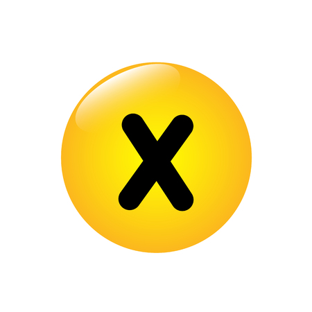 Mathematical multiplication icon on the yellow button Banco de Imagens - 95381053