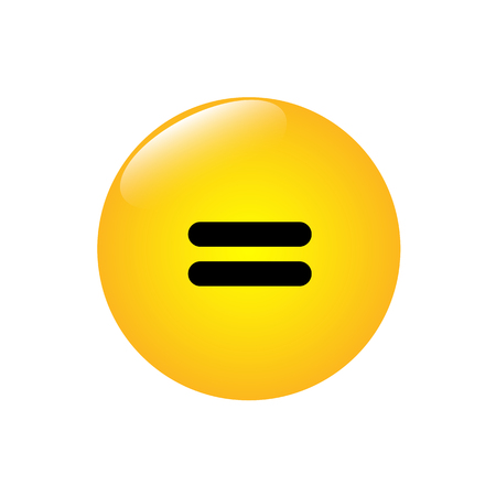 Equal sign on a yellow shiny button. Illustration