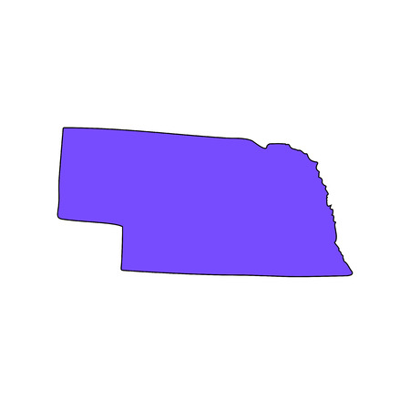 Map of the U.S. state of Nebraska on a white background Иллюстрация