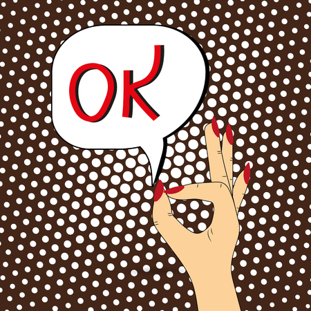 A womans hand. Gesticulation with fingers, speech bubble