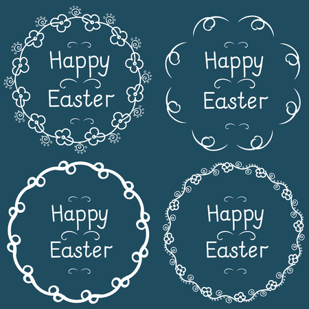 Round frame with the inscription happy easter. 일러스트