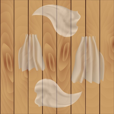 Waving light transparent fabric on a wooden background. Illustration