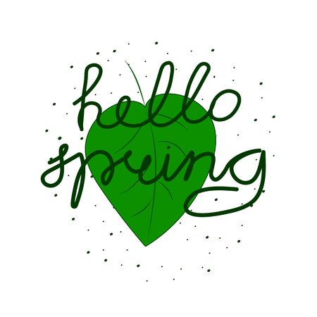 Background with the inscription Hello spring. Vector illustration.