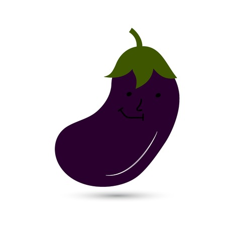 Funny eggplant with a face. Vector illustration. Standard-Bild - 96962783