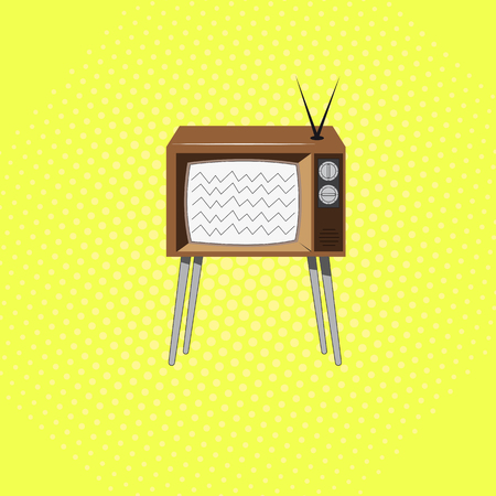 Retro TV on a background in the style of pop art