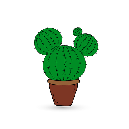 Green cactus in a brown flowerpot on a white background. Çizim
