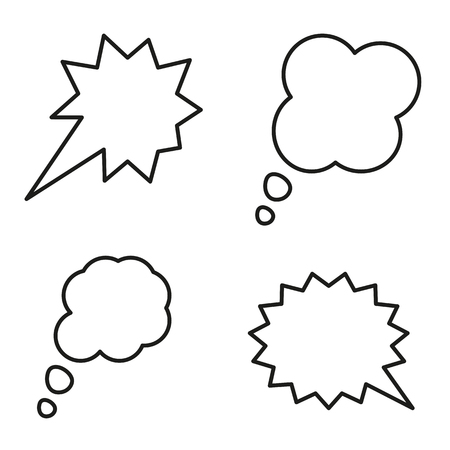 Hand drawn Blank white speech bubbles. Vector illustration.