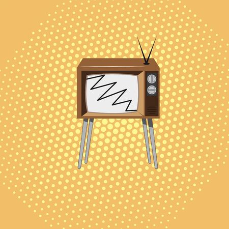 Brown television on a stand with a yellow dotted background 向量圖像