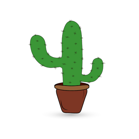 Cute cactus in a flowerpot on a white background.