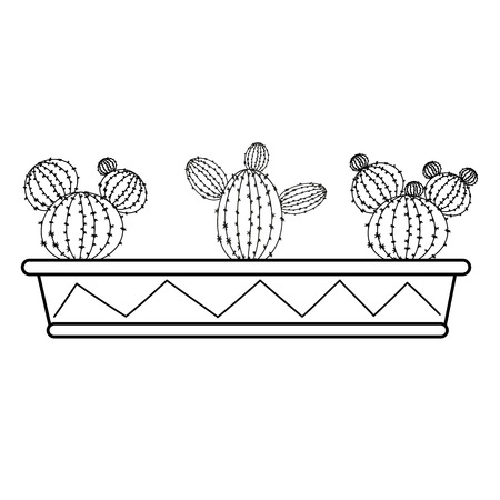 Set of cacti in a long box Stock Illustratie