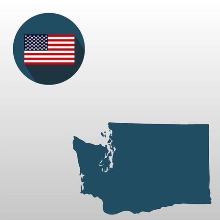 Map of the U.S. state of Washington on a white background. American flag