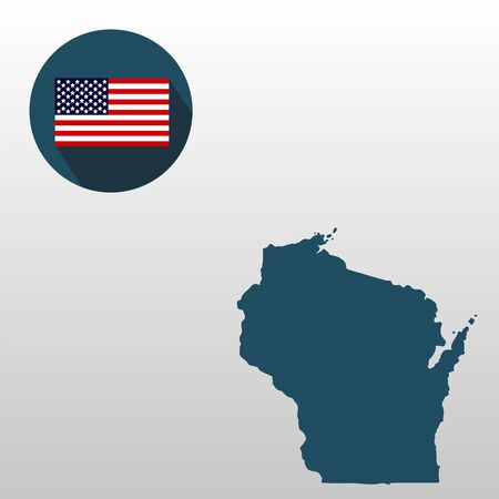 Wisconsin on the U.S. map on a white background with American flag.