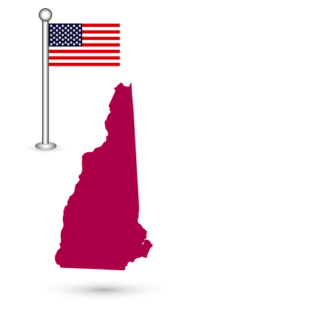 Map of the U.S. state of New Hampshire on a white background. American flag