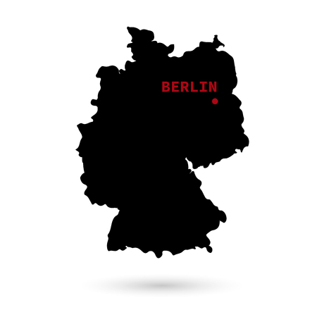 Map of Germany with the designation of the capital on a white background