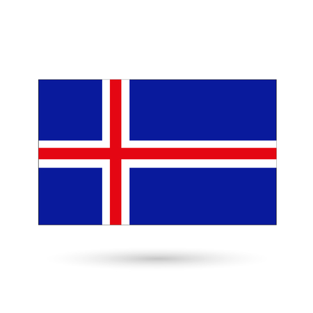 Flag of Iceland on a white background. Vector Image