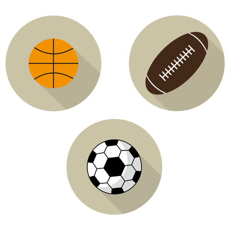 Icons set of balls, football, American football, basketball vector illustration. Foto de archivo - 101052554