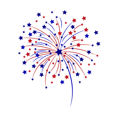 Celebratory fireworks on a white background vector illustration.  イラスト・ベクター素材