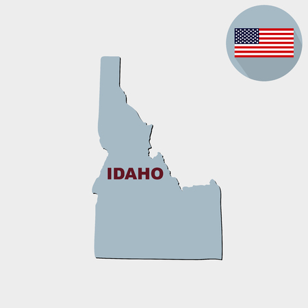 Map of the U.S. state of Idaho on a grey background. American fl Illustration