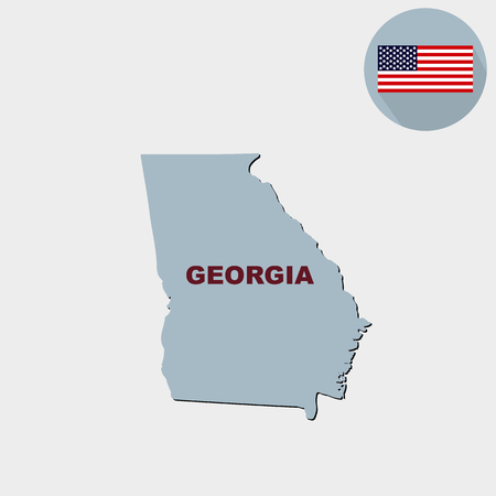 Map of the U.S. state of Georgia on a grey background. Flag, state name. Illustration