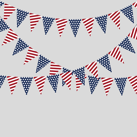 Holiday garlands of American flags on a gray background