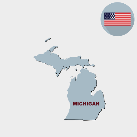 Map of the U.S. state of Michigan on a grey background. American