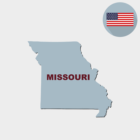 Map of the U.S. state of Missouri on a grey background. American flag, state name