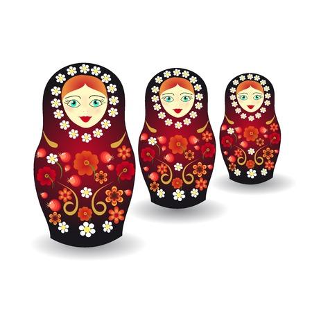 Russian tradition matryoshka dolls in style Hohloma Stockfoto