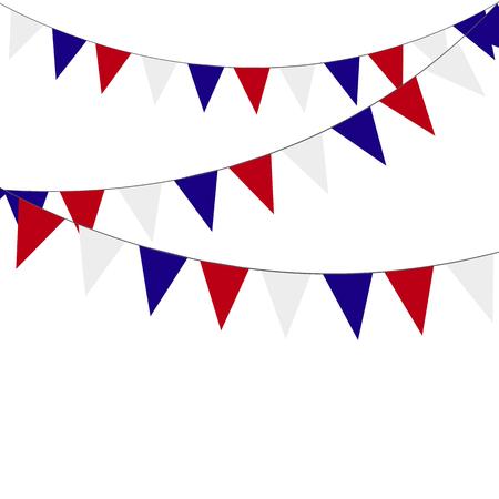 Festliche Girlanden der roten blauen Fahnen auf einem weißen Hintergrund. Vektorgrafik