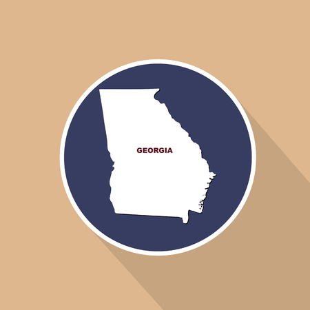 Map of the U.S. state of Georgia on a blue background. State name.