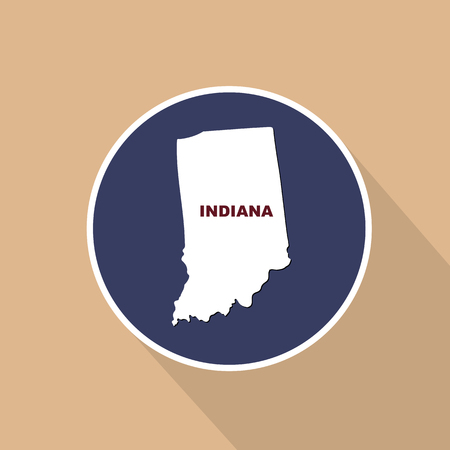 Map of the U.S. state of Indiana on a blue background. State name