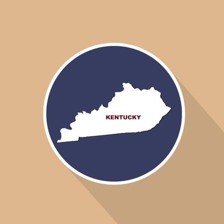 Map of the U.S. state of Kentucky on a blue background. State name