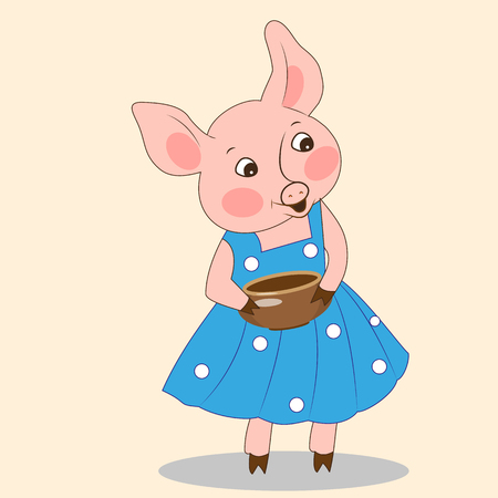 Funny little pig in a dress with a jug