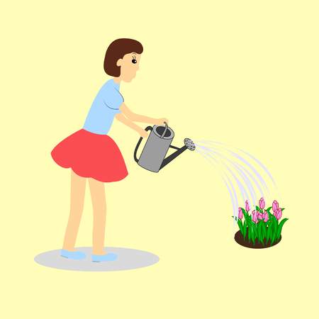 Girl watering tulips with watering can .Vector illustration