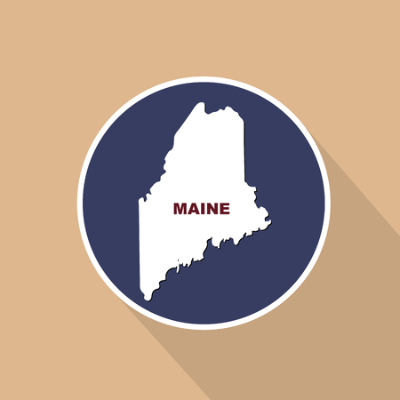 Map of the U.S. state of Maine on a blue background. State name